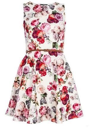 Xl пышное платье солнце клеш принт крупные цветы квіткова сукня