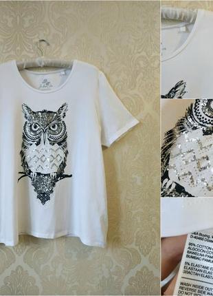 Белая футболка с совой большого размера