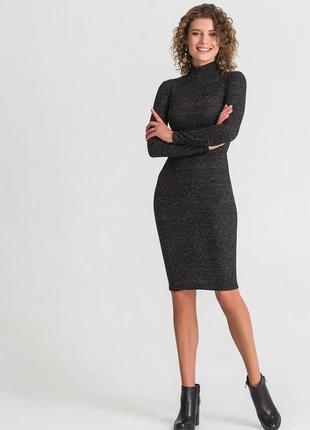 Платье гольф в рубчик черное -серое
