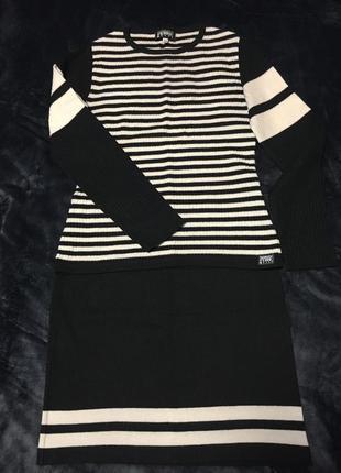 Костюм (джемпер + юбка) люкс бренд 50% шерсти