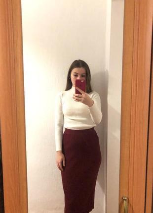Юбка цвета бордо на осень /зиму юбка карандаш
