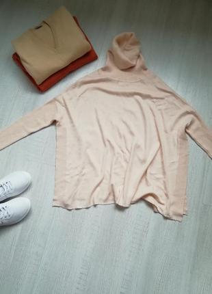 🌹пудренный , объёмный свитер с высоким воротником 🌹нюдовый джемпер прямого кроя 🌹свитер