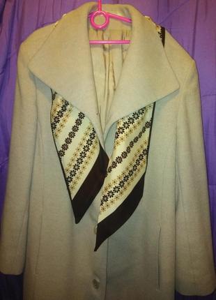 Шикарное пальто marks&spencer серо-бежевого цвета /uk 12 р. шарфик в подарок.