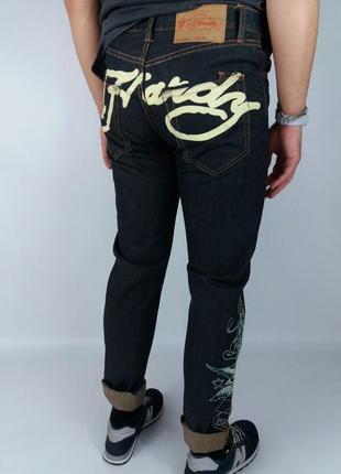 Прочные джинсы с принтом от ed hardy