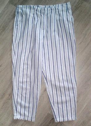 Качественные льняные брюки в полоску