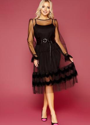 Элегантное черное платье с кожаным поясом