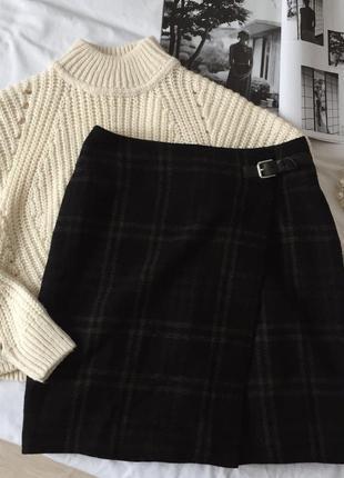 Чёрная шерстяная юбка на запах в клетку ralph lauren