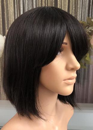 Парик натуральный черный каре из 100% натуральных волос — парики женские