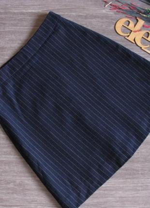 Полу шерстяная темно синяя юбка размер eur 38