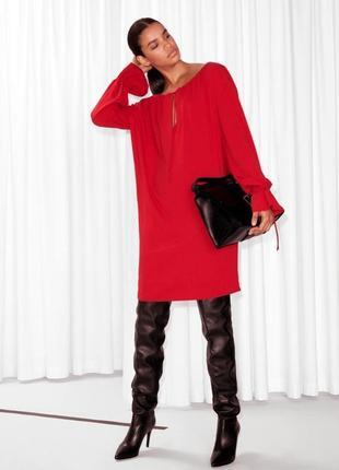 Красное платье оверсайз свободное стильное other stories