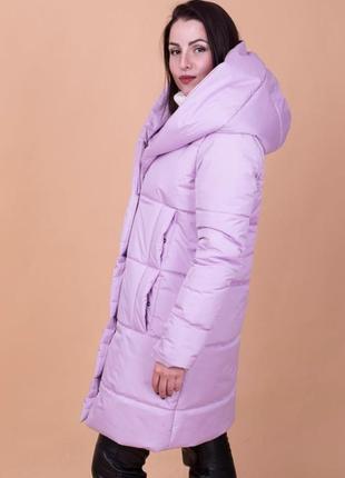 Сиреневая   женская зимняя куртка с капюшоном высокого качества