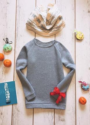 Серый свитшот реглан на флисе, теплая кофта, зимний свитер, меланж, утепленная