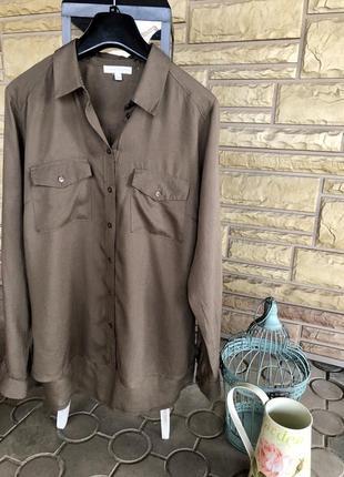 Брендовая базовая рубашка цвета хаки, дорогой бренд ⭐️