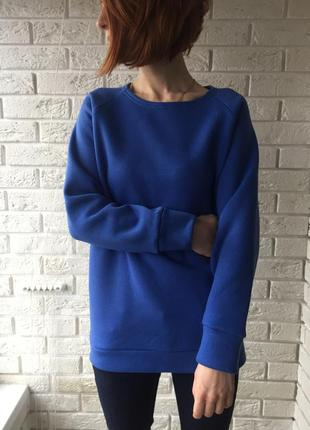 Синий свитер, на флисе, теплый свитшот, зимняя кофта, синяя кофта, теплая вещь
