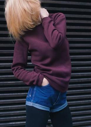 Бордовая кофта, марсала, теплая кофта на флисе, свитшот, реглан, зимняя