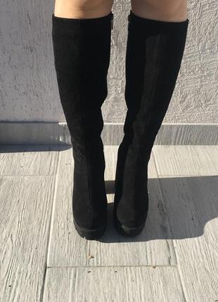 Замшевые сапоги (осень-зима). набивная шерсть. размер 38,5. обутые 2 раза