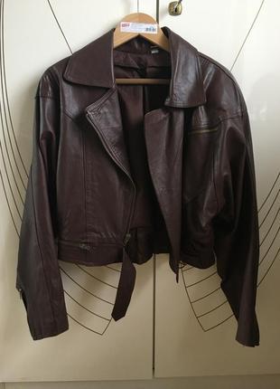 Винтажная кожаная куртка oversize.