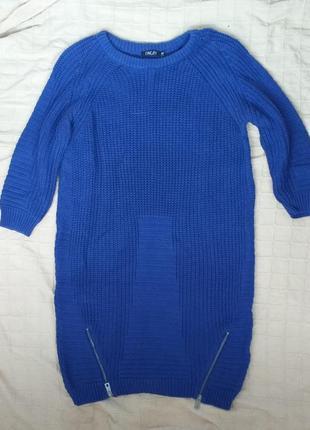 Синее вязаное платье-туника