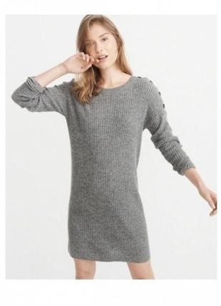 Серое шерстяное платье abercrombie & fitch