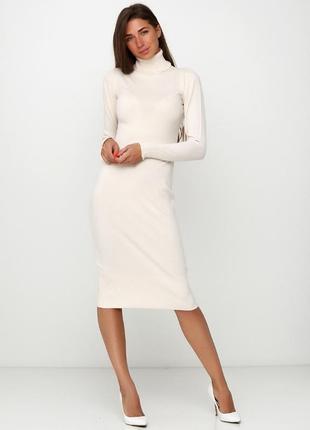 Кашемировое мега-качественное,теплое платье водолазка  молочного цвета