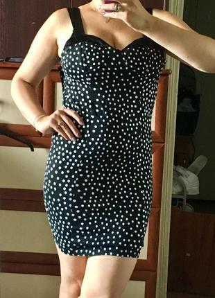 🎩мини платье из трикотажа в горох