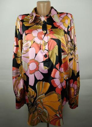 Привлекательная атласная блуза в цветы большой размер next uk 20/48/3xl