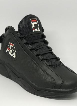 Ботинки мужские зимние кроссовки fila parker 72 черные
