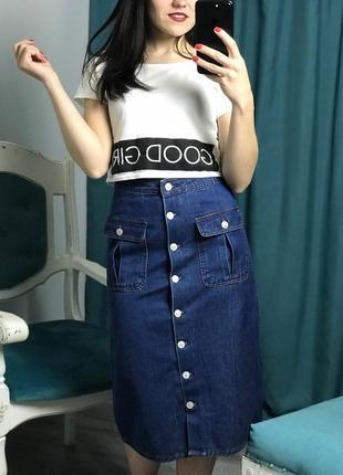 Закрыли магазин! распродажа по смешным ценам! заходите! джинсовая юбка миди!