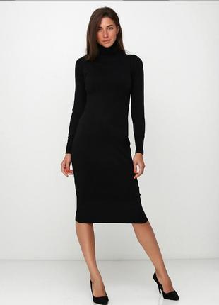 Базовое черное кашемировое мега-качественное платье-водолазка