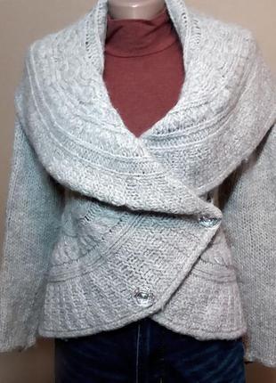 Шерстяной свитер на пуговицах, зимняя кофта-кардиган с широким воротником-хомутом, накидка