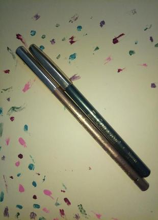 Карандаш для глаз золотой и карандаш для глаз сине-зеленый с металлическим отливом