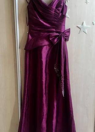 Платье в пол нарядное выпускное рыбка длинное макси вечернее тафта с вышивкой