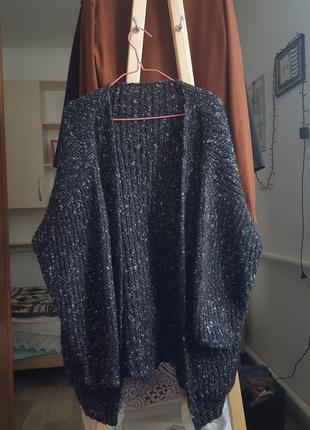Новая женская теплая кофта зимний свитер черный пуловер кардиган