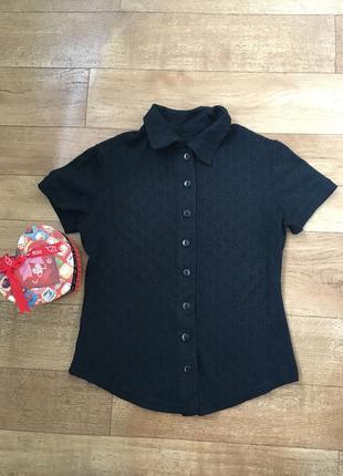 Чёрная блуза. блуза с коротким рукавом. рубашка с коротким рукавом