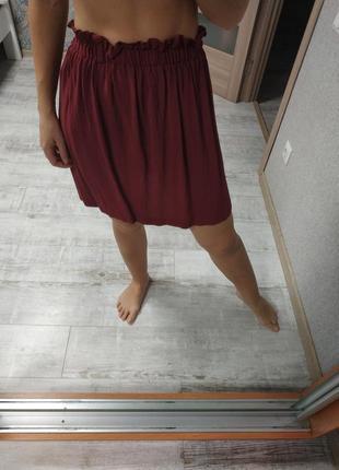 Красивая летняя бордовая юбка высокая талия