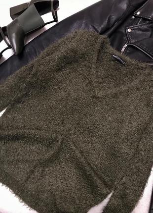 Ворсистый оливковый свитер/ кофта/ джемпер