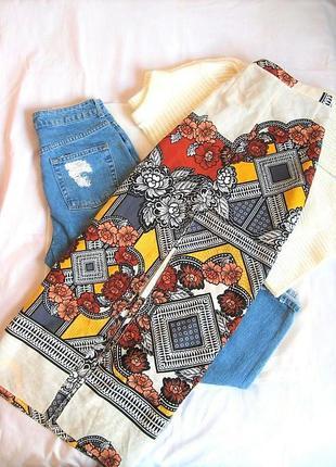 Богемная яркая юбка в пол с разрезом в интересный геометрический принт river island, s,m
