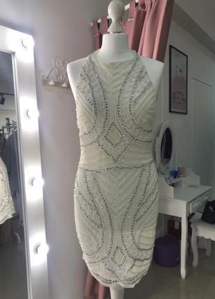 Вечернее коктейльное платье на выпускной стразы пайетки мини белое нарядное