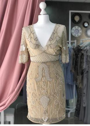 Вечернее коктейльное платье на выпускной пайетки бежевое стразы