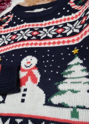 Веселый, зимний, новогодний, рождественский свите❄❄❄кофта, принт ёлки, снеговики, конфетки