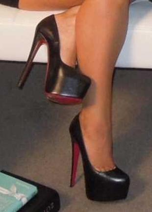 Черные кожаные туфли лодочки на высоком каблуке шпилька с красной подошвой стрип пулл дэнс