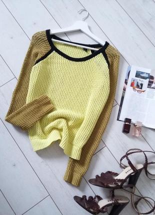 Стильный коттоновый  свитер ажурной  вязки