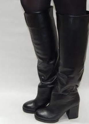 Кожаные зимние сапоги на высоком каблуке valiente venison