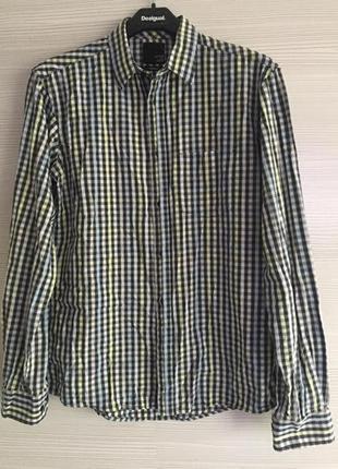 Мужская стильная яркая рубашка с потайными пуговицами luxury размер s