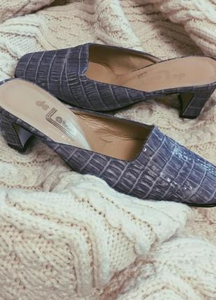 """Лавандовые винтажные туфли с открытой пяткой мюли на каблуке """"de laura elda"""", размер 36"""