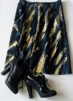 Джинсовая юбка  с запахом и рваным низом