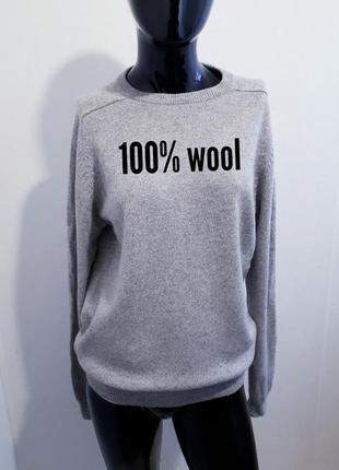 Теплый базовый  свитер джемпер 100% шерсть