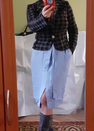 Юбка коттоновая прямая на высокой талии