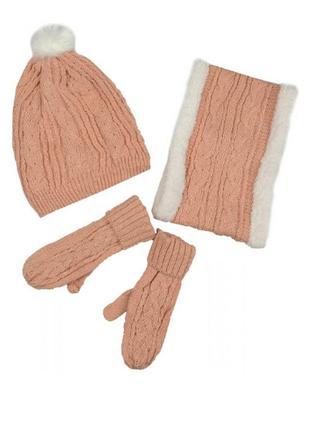 Комплект шапка , хомут, варежки