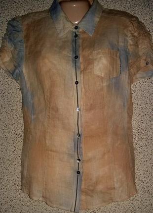 Стильная льняная рубашка от бренда marc cain.оригинал